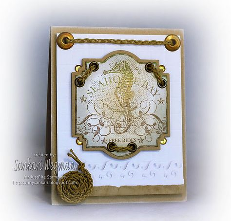 Love how @Sankari Wegman used braided help and eyelets to create fun features in her seahorse card.