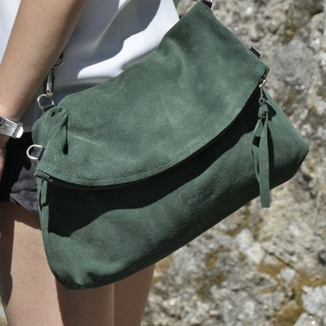 Leather tote bag green leather bag crossbody by SANTIbagsandcases