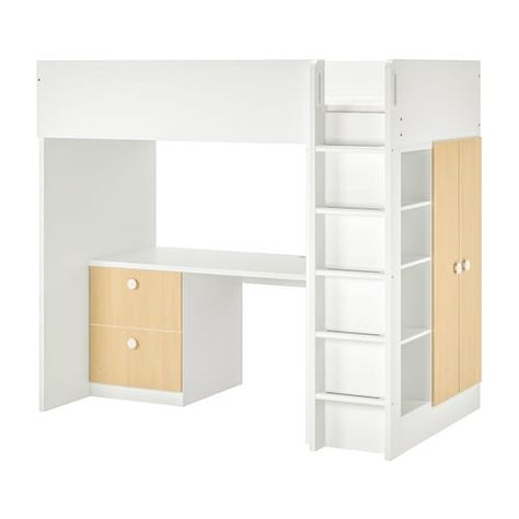 Letto A Castello Ikea Bianco.Stuva Folja Letto Soppalco 4 Cassetti 2 Ante Bianco 207x99x182