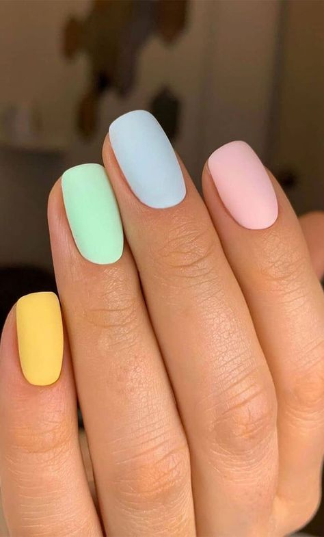 10 Creative Nail Designs for Short Nails to Create Unique Styles Acrylic Nails Pastel, Simple Acrylic Nails, Summer Acrylic Nails, Best Acrylic Nails, Acrylic Nail Designs, Spring Nails, Colorful Nail Designs, Nail Designs Spring, Pastel Color Nails