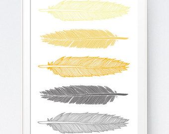 Grey Gray Yellow Feather Print Mustard And Gray Feather Art Gold And Grey Wall Art Home Wall Art Feathers Instant Download Feather Wall Decor Feather Wall Art Feather Art