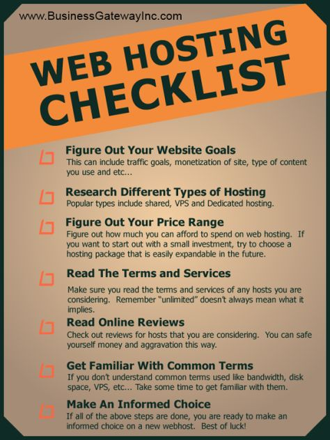 InfoGraphic - Web Hosting Checklist
