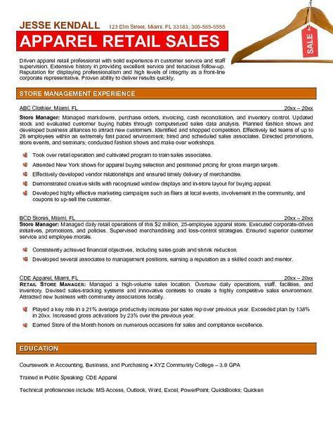 Retail Store Manager Resume Example -    wwwresumecareerinfo - retail sales resume