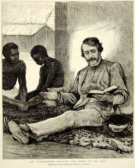 1874 Wood Engraving David Livingstone Portrait Missionary Africa - Dr Livingston I Presume