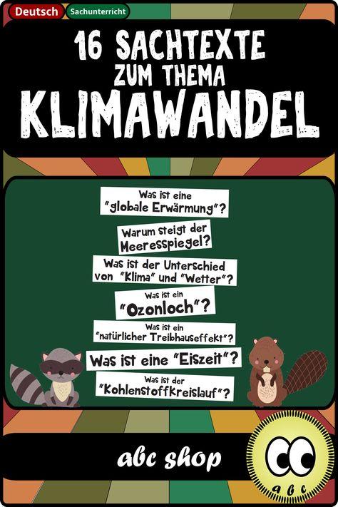 16 Sachtexte Zum Thema Klimawandel Unterrichtsmaterial In Den Fachern Erdkunde Politik Sozialkunde Sachen Erdkunde Unterrichtsmaterial