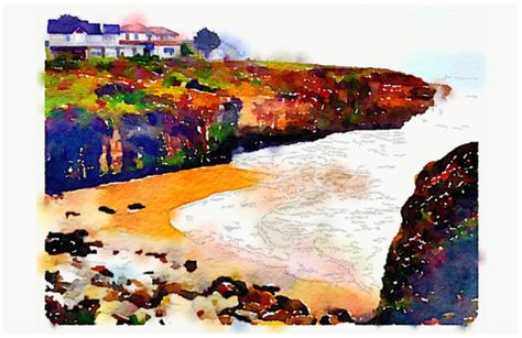 West Cliff Digital Watercolor - Canvas Wall Art ( 16 x 20 ) – Rodney Washington | Art Photography - $104 - http://rodneywashingtonartphotography.com/