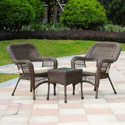 Bay Isle Home Maryville 3 Piece Rattan Seating Group With Cushions 3 Piece Patio Set Garden Patio Furniture Seating Groups