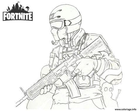 Coloriage Fortnite Soldier Dessin à Imprimer En 2019