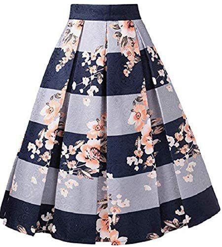 Alinfu Womens Jacquard High Waist A Line Skirt Floral Pleated Midi Skirts