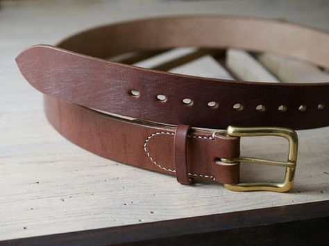 Made in USA Hand Cut Full Grain Brass Buckle Thick Leather Belt For Men