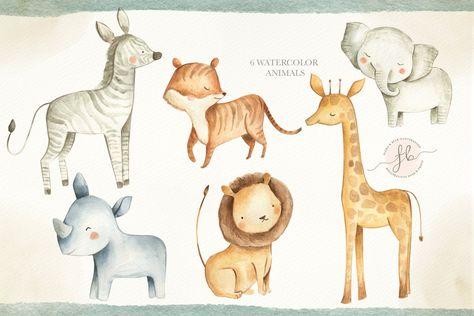 Lovely Jungle Watercolor Clip Art Safari Animal Woodland Animals Kids Clipart Boho Clipart Nursery Decor Nursery Clipart Tropical In 2021 Safari Animal Art Safari Animals Animal Clipart