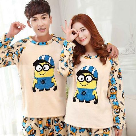 23a3a0f059 Thickened Pyjamas Women Adult Minion Pajamas For Women Men Female Flannel  Winter Couple Pajama Sets Warm Sleepwear