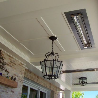 Flush Mounted Electric Heaters Recessed Into Plank Ceiling
