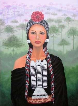 Mujer Mapuche Pintura Al Oleo 50 X 70 Cm Mother Earth Art Mexican Artwork Goddess Art