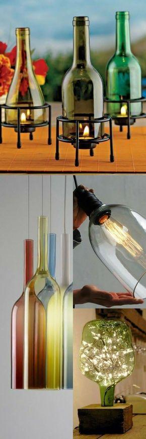 Aprende Cómo Hacer Lamparas Decorativas Con Botellas De Licor Diy Lamp Shade Diy Lamp Glass Bottle Crafts