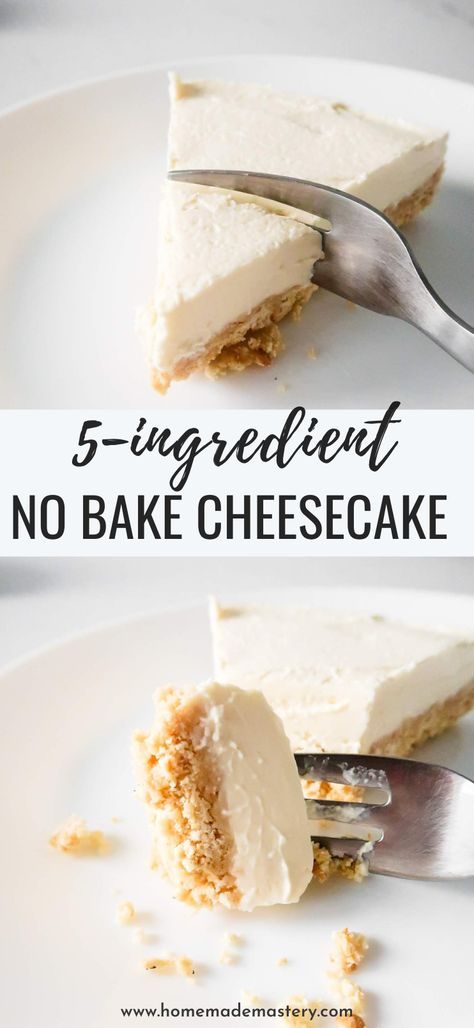 This easy no bake cheesecake has a creamy filling and a buttery crumbly crust and is kinda addictive. You won't believe it, but this simple no bake cheesecake recipe requires only 5 ingredients! Not bad for an entire cake. No Bake Cheesecake Filling, Healthy Cheesecake Recipes, Baked Cheesecake Recipe, Homemade Cheesecake, Ingredients For Cheesecake, Cheesecake Bites, Cheesecake Desserts, 4 Ingredients, Dessert Simple