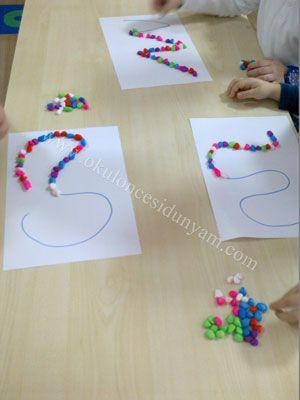Taşları çizgiye Yerleştir Okul öncesi Dünyam Okul Okul öncesi Duyusal Gelişim Oyunları