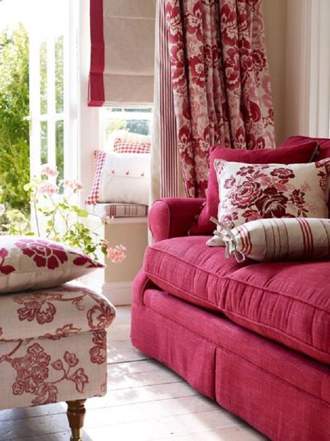French Country Living Room: Warm and casual, Lots of pattern, Color ...