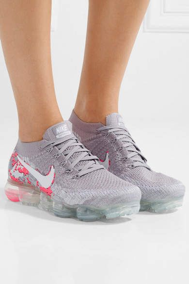 Nike Air Vapormax Printed Flyknit Sneakers Gray. These