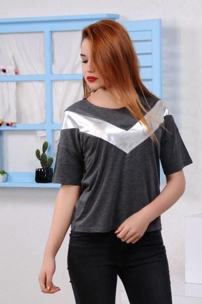 Bayan Tisort Gumus Seritli Fume T Shirt Cool Abiye Style Kadin Stil Kiz Modavigo Bayan Alisveris Dikis Giyim Genc K Stil Tisort Modelleri Kadin