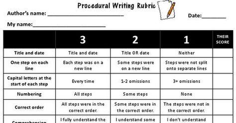 Procedural Writing Rubric Peer Assessment Pdf Writing Rubric