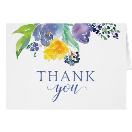 Blue Floral Watercolor Thank You Card Zazzle Com In 2020