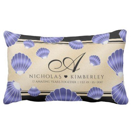 Elegant 17th Shells Beach Sand Wedding Anniversary Lumbar Pillow