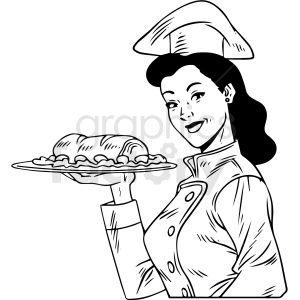 Black White Vintage Female Chef Holding Dinner Vector Clipart Clip Art Vector Clipart Black White Vintage