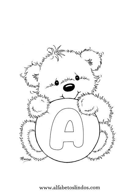 Alfabeto Fofo Ursinhos Segurando Letra Para Colorir Riscos Com