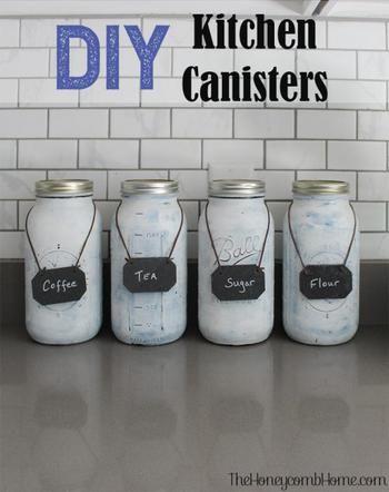 Diy Mason Jar Canisters Mason Jar Diy Mason Jar Organization Mason Jars