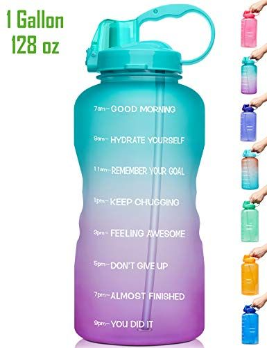 Venture Pal Large 1 Gallon 128 Oz When Full Motivational Bpa Free Leakproof Water Bottle With Straw In 2020 Water Bottle With Straw Gallon Water Bottle Water Bottle