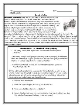 Bacon S Rebellion Reading And Question Worksheet With Answer Key Background Information And An Adapted Student Friendl Answer Keys Rebellion History Worksheets