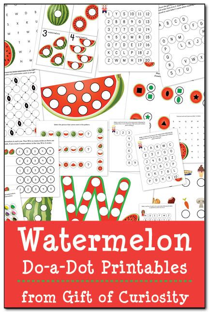 Watermelon Do-a-Dot Printables: 19 pages of watermelon do-a-dot worksheets that will help kids practice one-to-one correspondence, shapes, colors, patterning, letters, and numbers. #DoADot #watermelon #giftofcuriosity #freeprintables || Gift of Curiosity