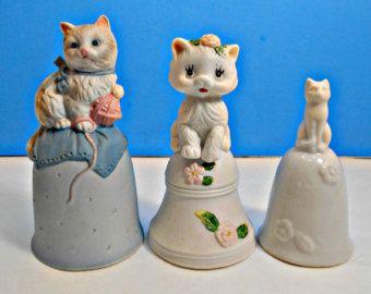Decorative Bells Three Ceramic Kitty Cat Bells Decorative Bells 3 White Kittens