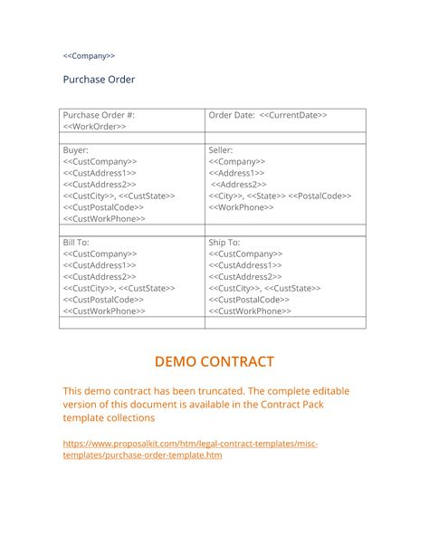 Purchase Order Template - The Purchase Order template is used to - purchase order pdf template
