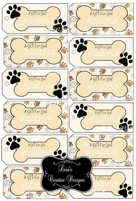 Printable Paw Print Dog Bone Gift Tags, Dog Lover Gift Tags, Digital Download, Paw Print Gift Tags, Dog Gift Tags, Dog Themed Party Decor