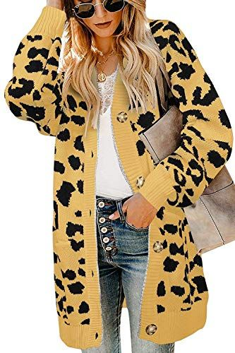 Msikiver Womens Leopard Print Cardigan Sweater Open Front