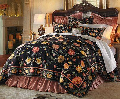 Belgique Tapestry Collection Floral Pattern On Black Background Bedroom Vintage Bedding Set Vintage Bed Bedding Sets