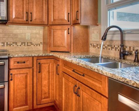 Honey Maple Cabinetry With Countertops U Shaped Kitchen With