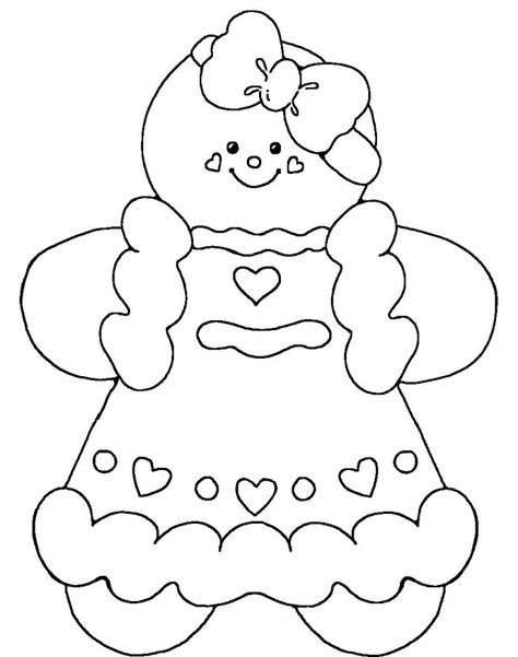 Cute Gingerbread Man Coloring Pages Printable Christmas Coloring