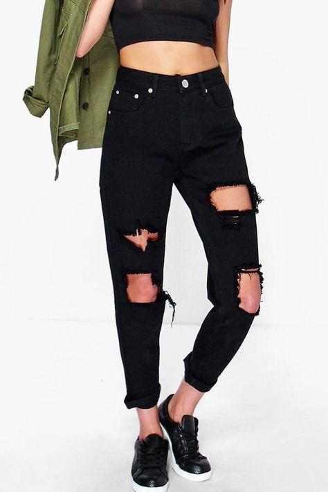 super cute get new to buy High Waist Distress Boyfriend Jeans | Boohoo | Black ripped ...