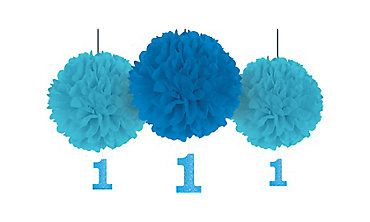 1st BIRTHDAY BOY FLUFFY DECORATIONS W// GLITTER CUTOUTS ~ First Party Supplies