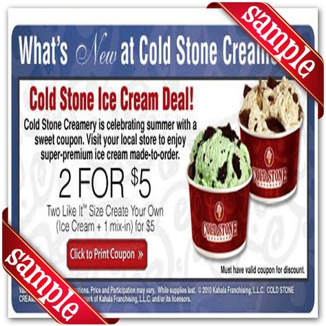 graphic regarding Cold Stone Printable Coupon referred to as Pinterest