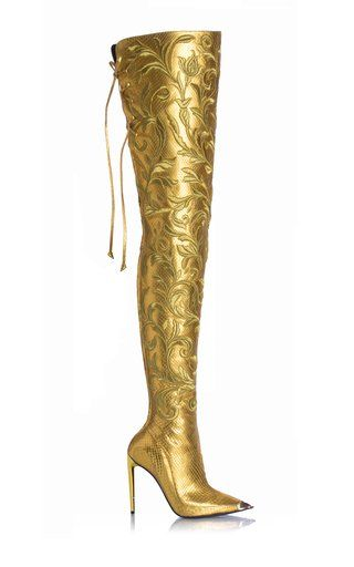 a69f0f5f87d Gold Thigh High Python Boot with Metal Cap Toe by Taro Ishida Resort ...