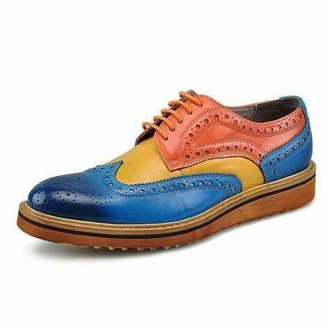 Handmade Three tone wingtip full brogue formal shoes Men designer dress shoes