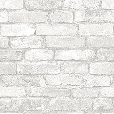 Nuwallpaper Nu3010 Grey And White Brick Peel Stick Wallpaper Amazon Com In 2020 Brick Effect Wallpaper White Brick Faux Brick