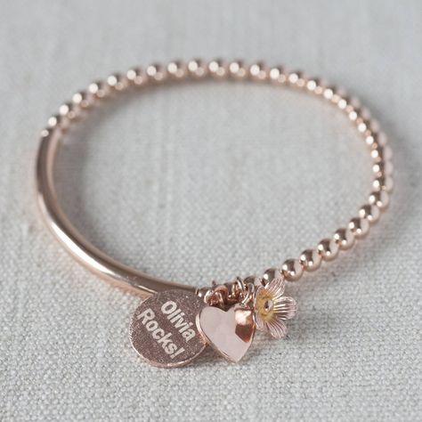 Personalised Rose Gold Filled Bracelet - gifts for teenage girls