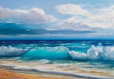 Oil painting of the sea on canvas. Canvas Print • Pixers® • We live to change