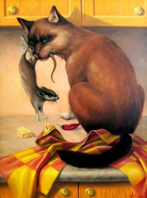 Buy The cat 60x80cm, oil painting, surrealistic artwork, Oil painting by Artush Voskanyan on Artfinder. Discover thousands of other original paintings, prints, sculptures and photography from independent artists.