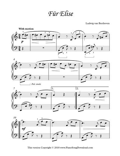 Fur Elise By Beethoven Printable Piano Sheet Music For